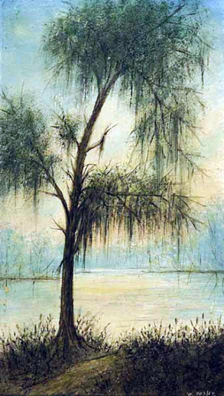 "Oil on board painting: ""The Old Tree at Ousley's Landing at Bagdad, Louisiana"""