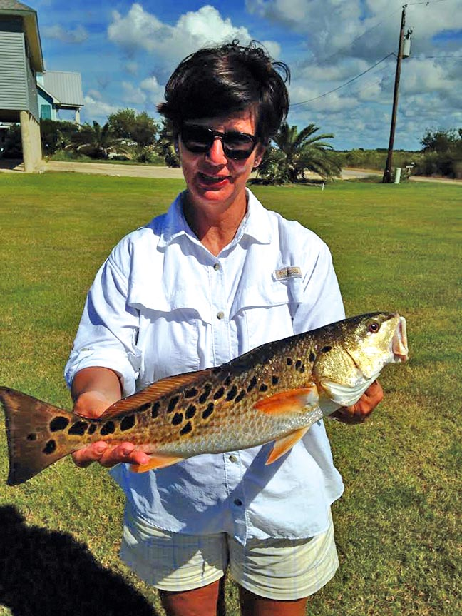 Janet Ford with her Christmas redfish.
